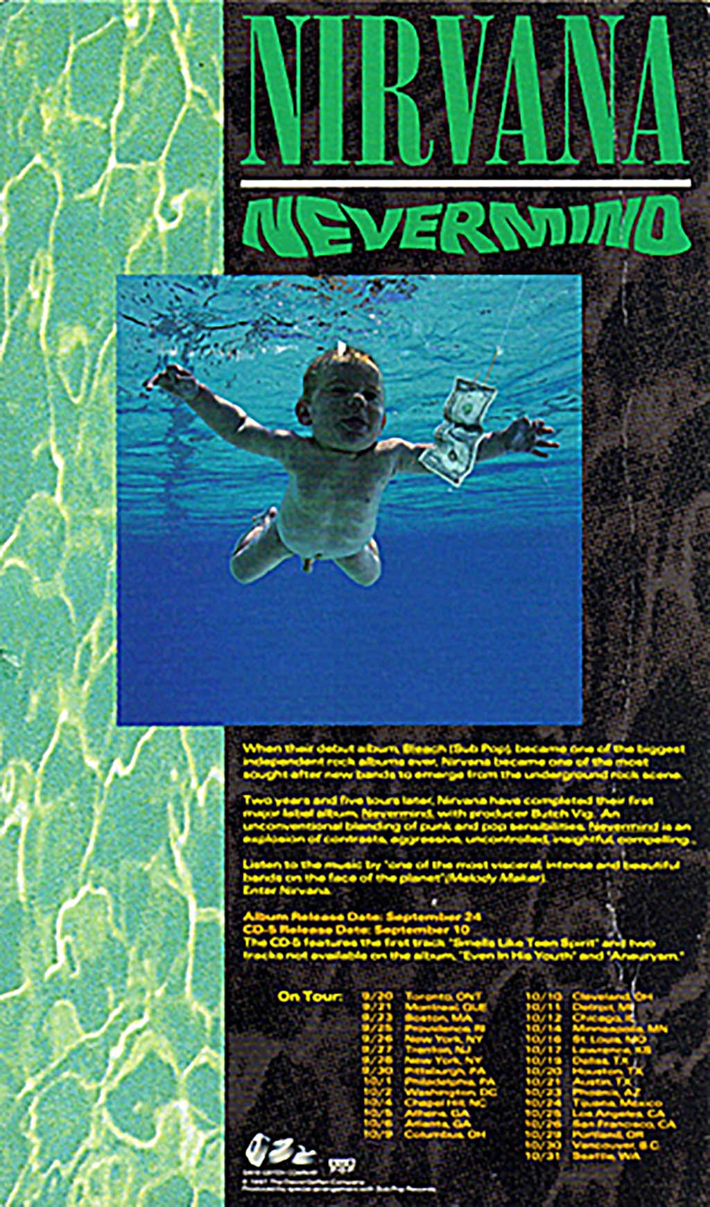 Promotional Card With Schedule Nirvana Nevermind