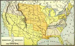 map showing the territory of louisiana orange center area bought by u s in louisiana purchase of 1803 and spanish claims yellow in the southwest