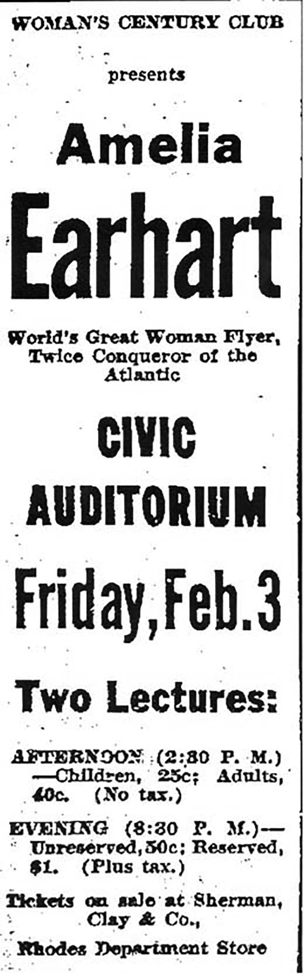 Amelia Earhart Speaks At Seattles Civic Auditorium Under  Advertisement For Womans Century Club Presentation Of Amelia Earhart  Seattle