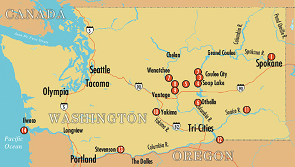 Scablands Washington Map.Ice Age Floods In Washington A Tour Historylink Org