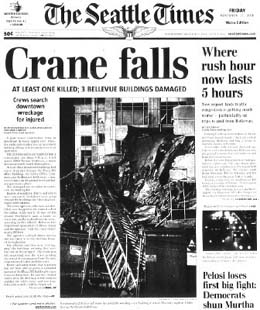 Collapse of a 210-foot construction crane in Bellevue kills one