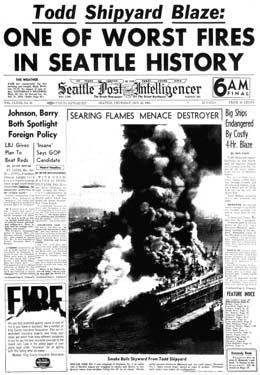 Tacoma To Seattle >> Todd Pacific Shipyards fire (Harbor Island, Seattle ...